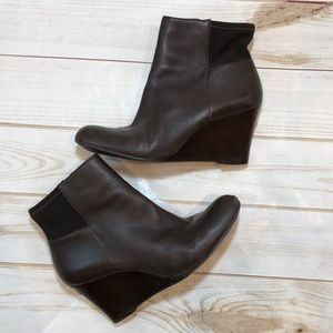 Michael Kors leather wedge boots booties